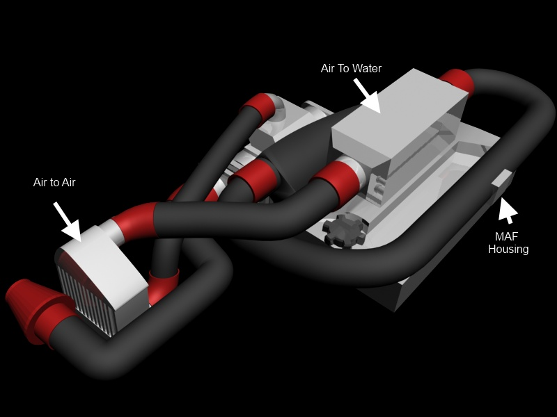 3D Mockup of intercooler piping (view 1)