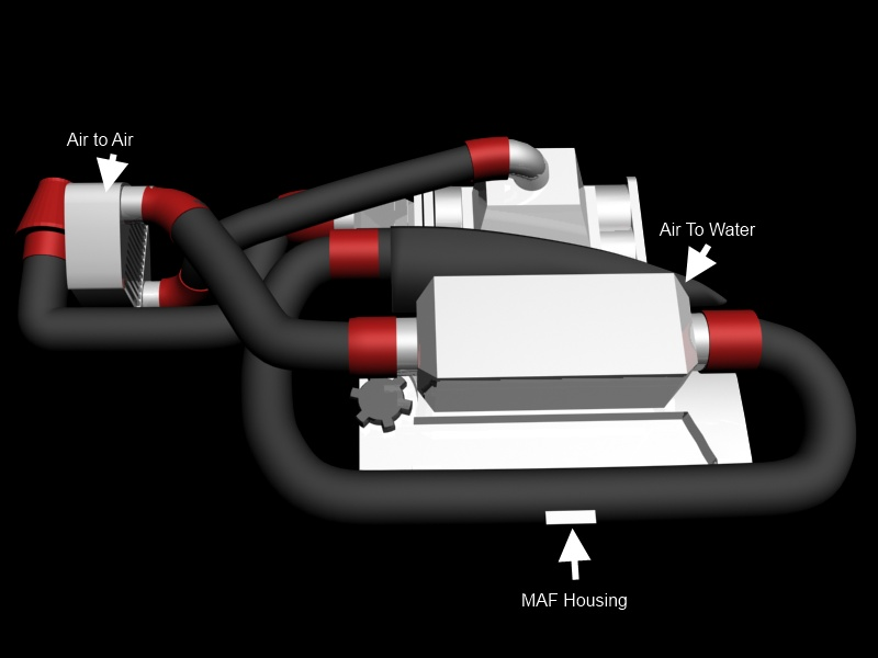 3D mockup of intercooler piping (View 2)